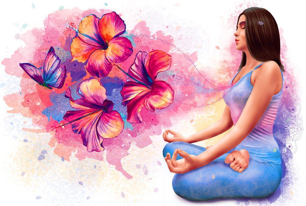 Beautiful woman sitting in meditation in yoga pose.
